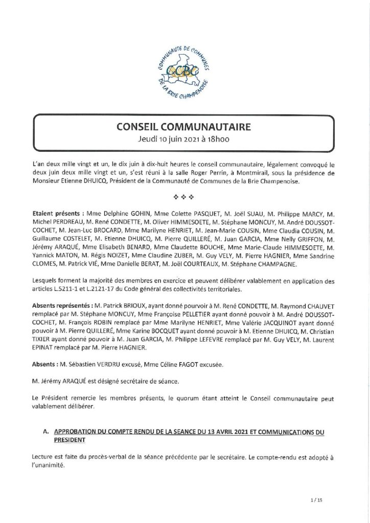 Procès verbal du Conseil communautaire du jeudi 10 juin 2021