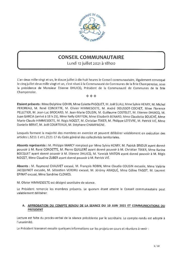Procès verbal du Conseil communautaire du 12 juillet 2021